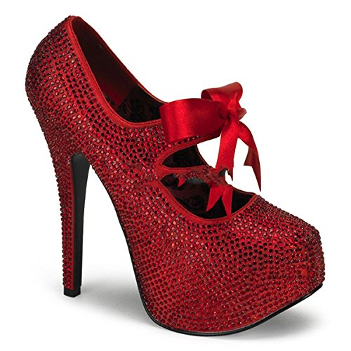 Bordello Teeze-04R - Original Burlesque Plateau Pumps mit Schleife mit Strass-Besatz in Rot