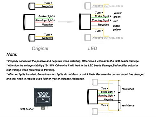 MZS LED Integrated Tail Light Turn Signal Blinker for Yamaha FZ6 FAZER FZ-6 FZ600 2004 2005 2006 2007 2008 (Smoke) by MZS (Image #4)