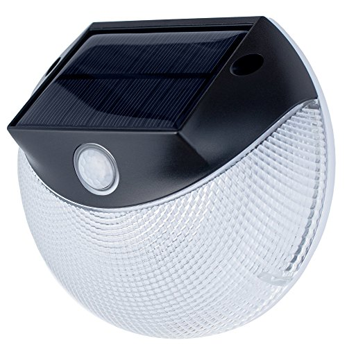Solar Security Light - Motion Activated LED Wall Light by OUTDOOR MOOD - Warm & Bright Modes, Weatherproof Solar Light, Wall Light for Deck, Grill, Patio, Stairs, Garden, Path & (Bright White Grill)