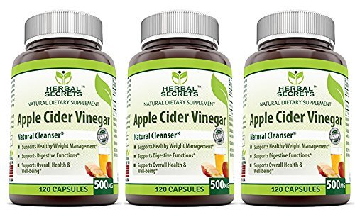 Herbal Secrets Apple Cider Vinegar 500mg 120 Capsules, 3 Pack