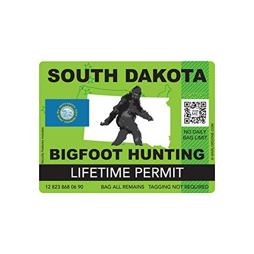 South Dakota Bigfoot Hunting Permit Sticker Die Cut Decal Sasquatch Lifetime FA Vinyl
