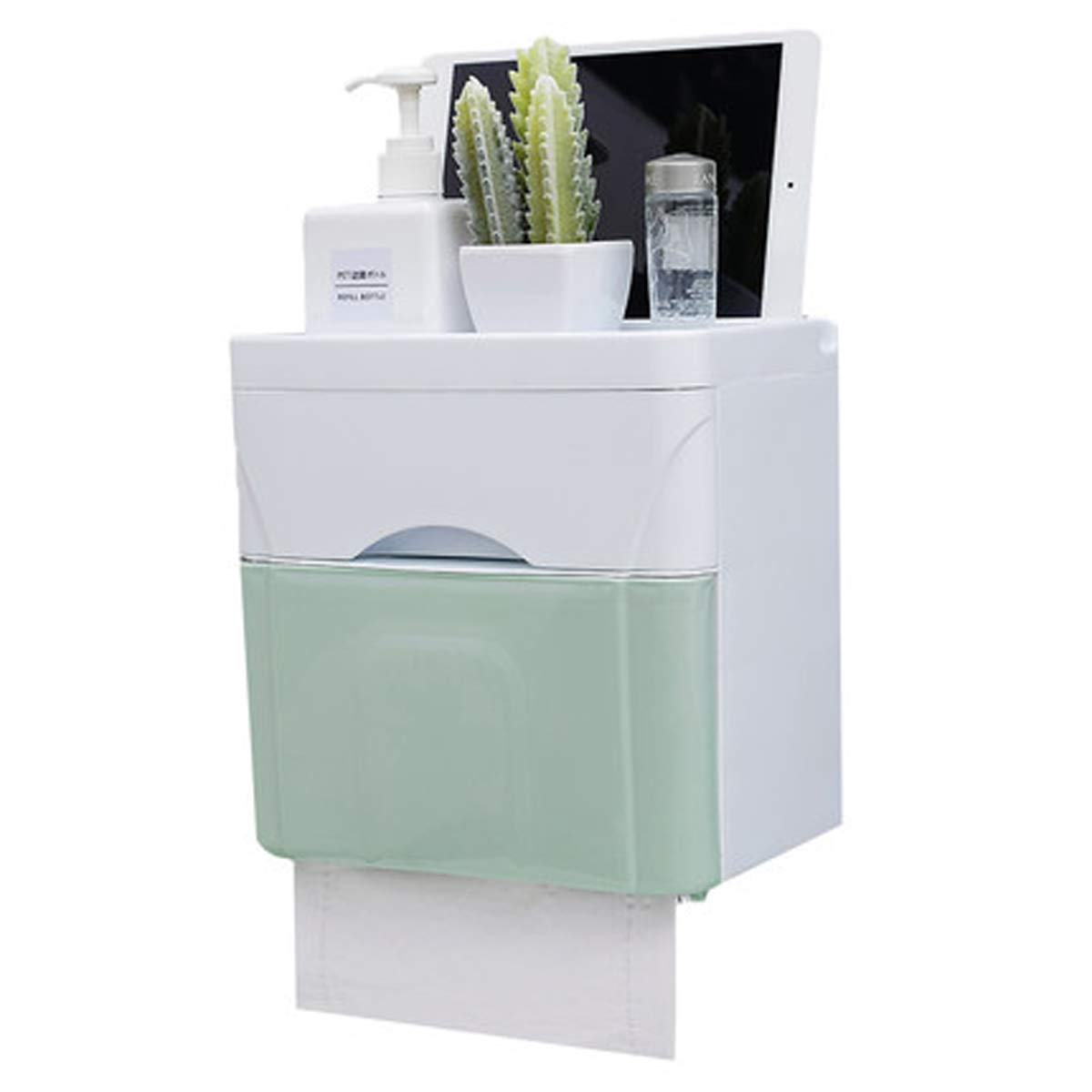 Q&F Wall Mount Toilet Paper Holder, Tissue Holder With Storage Box-waterproof, Moisture Proof-plastic-A
