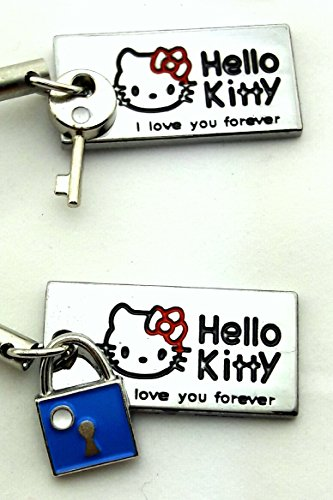 Set of Two Hello Kitty I love You Forever Cell Phone Charms - Lock and Key