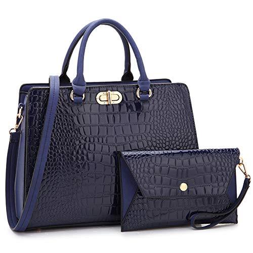 Women's Fashion Handbags Tote Purses Shoulder Bags Top Handle Satchel Purse Set 2pcs 02 Croco- Blue ()
