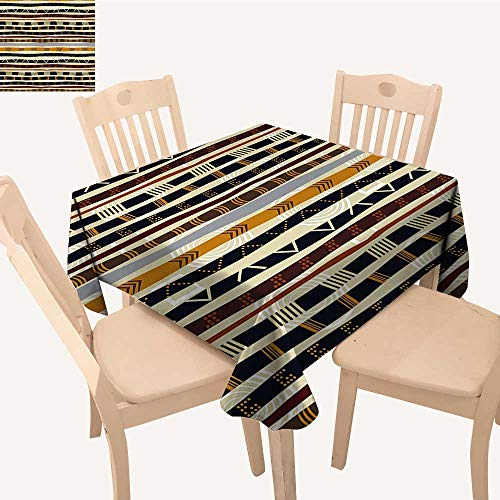 Primitive Cloth Doll Patterns - UHOO2018 Spillproof Fabric Tablecloth Geometric Primitive Wild Hen Pattern Multicolor Square/Rectangle Washable Polyester,50x 50inch