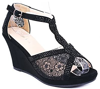Top Moda Wedge Lace Rhinestone Sandals Shoes