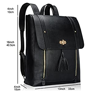 Estarer Upgraded Version Women PU Leather Backpack 15.6inch Laptop Vintage College School Rucksack Bag (black)