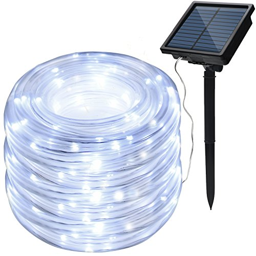 8 Modes IMAGE Solar String Rope Lights 78.7 Foot 20Meters Waterproof 200LED high capacity battery for Indoor Outdoor Garden Party Patio Decor - White