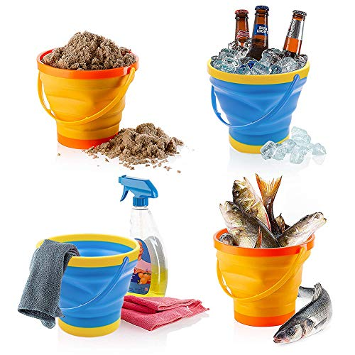Shindel Foldable Bucket, 3PCS Foldable Pail Bucket Collapsible Buckets for Kids Beach Play Camping Gear Water and Food Jug, Dog Bowls, Camping, 2.5L