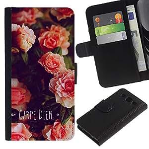 Paccase / Billetera de Cuero Caso del tirón Titular de la tarjeta Carcasa Funda para - Carpe Diem Day Flowers Quote - Samsung Galaxy S3 III I9300