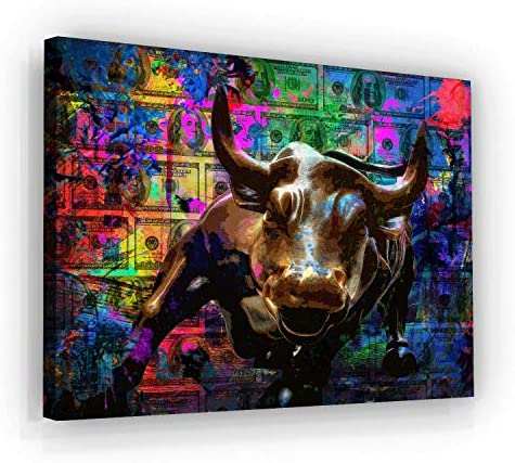 Wall Street Charging Bull Motivational Wall Art Canvas Print