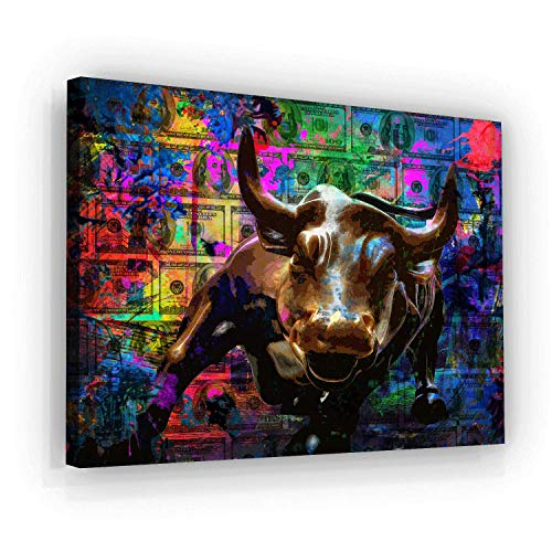 SuccessHuntersPrints Wall Street Charging Bull Motivational Wall Art Canvas Print, Office Decor, Inspiring Framed Posters, Inspirational Entrepreneur Quotes for Wall Art Decoration (36
