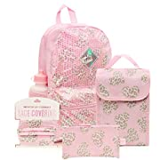 6 Pc. Animal Print Heart Girls Backpack Set, 16 inch, w/Washable Cloth Kids Face Mask, Lunch Bag, & Pencil Case