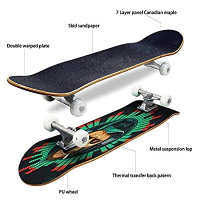 Classic Concave Skateboard Music Fan Hipster Monkey in Headphone DJ Chimpanzee Longboard Maple Deck Extreme Sports and Outdoors Double Kick Trick for Beginners and Professionals : Sports & Outdoors