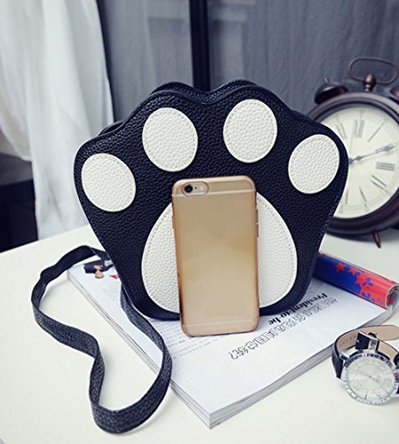 Leather Shape Paw Cartoon Print Cute Cat's Paw Cross Fashion body Black Bag Shoulder Bag PU Bag Mini wqUC8g