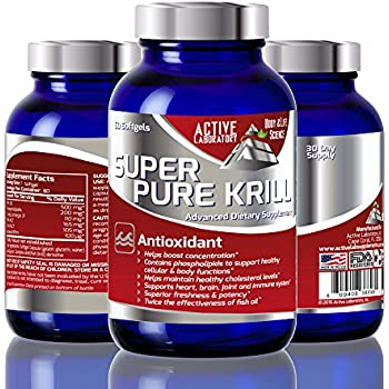 Pure Krill Oil with Astaxanthin - 1000mg per serving- fished in Antarctic waters - High Concentration of DHA and EPA Omega 3s and Phospholipids - 100% Guaranteed by Active Laboratory