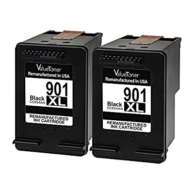 Valuetoner Remanufactured Ink Cartridge Replacement for HP 901XL 901 XL (2 Black) CZ075FN CC654AN High Yield for HP Officejet 4500, J4524, J4540, J4550, J4580, J4624, J4680 Inkjet Printers