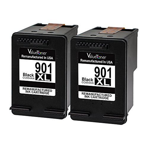 Valuetoner Remanufactured Ink Cartridge Replacement for 901XL 901 XL (2 Black) CZ075FN CC654AN High Yield, work with Officejet 4500, J4524, J4540, J4550, J4580, J4624, J4680 printers