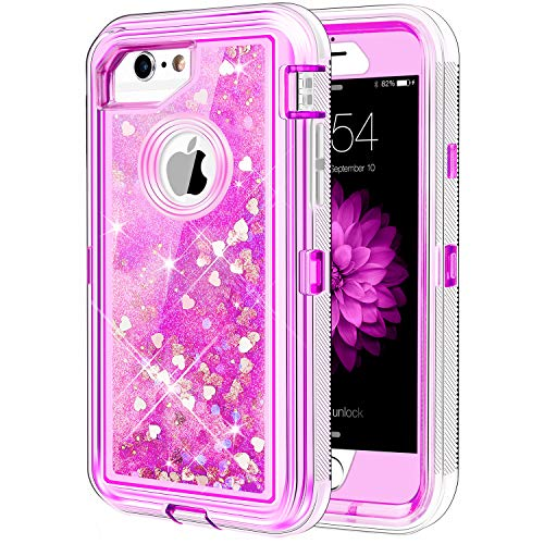 iPhone 6S Plus Case, Caka Protective Flowing Liquid Floating Luxury Bling Glitter Sparkle Heavy Duty Case for iPhone 6 Plus/6S Plus/7 Plus/8 Plus (5.5 inch) - (Love Pink)