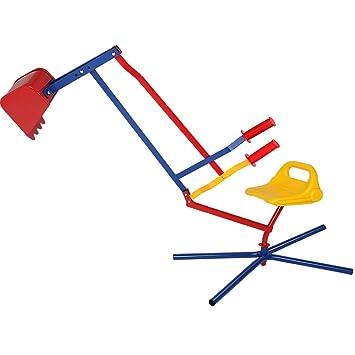 Deuba Sandbagger   Metall - Kippschaufel   360° Radius   Gummigriffe   Sitzbagger Sandspielzeug Sandkastenbagger für Kinder