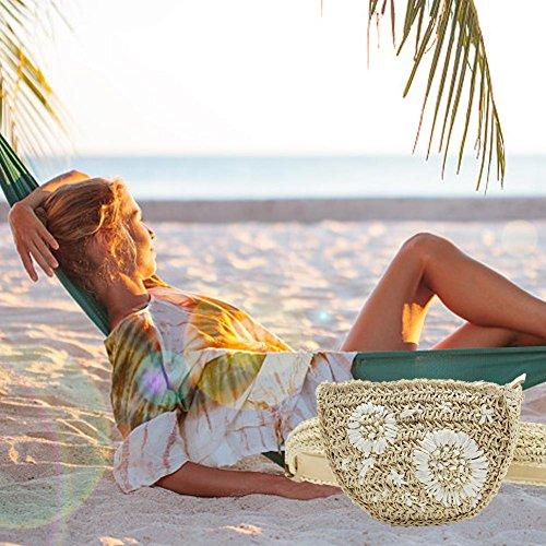 de Samber broderie paille plage herbe sable sac conception femmes Beige ceinture sac main Bolso Fanny voyage fleur Beige été sac fait taille taille paquet aPr5awq
