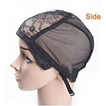 AliMomo 2 pcs Lace Wig Caps with Adjustable Strap for Making Wigs Free Size Black Dome Mesh Wig Cap for Women
