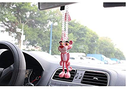 HT TOYS Beaded Pendant Cute Pink Panther Dashboard Car Decoration