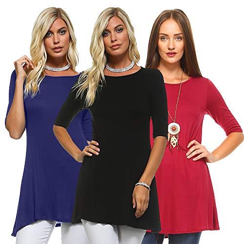 Isaac Liev Women's 3-Pack 3/4 Sleeve Elbow Half Sleeve Short Sleeves A-line Flowy Loose Swing Tunic Shirt Top (2X-Large, Black, Navy & Burgundy)