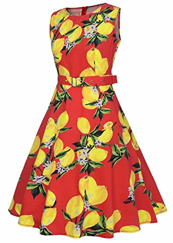 Abito da donna Vintage 1950 Floral Lemon Spring Garden Cocktail Party Dress limone