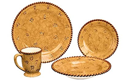 Western Cowboy Dinnerware Dishes Plates Plate Set 16 Piece Set Montana Silversmiths Lifestyles Brands Tan Tableware  sc 1 st  Amazon.com & Amazon.com : Western Cowboy Dinnerware Dishes Plates Plate Set 16 ...