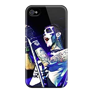 Shock Absorbent Cell-phone Hard Covers For Iphone 4/4s With Unique Design High Resolution Black Veil Brides Band BVB Skin ErleneRobinson