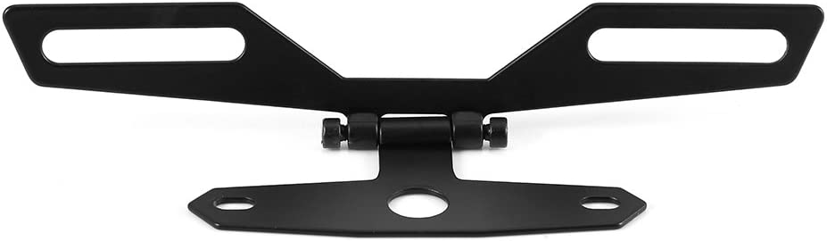 Cuque Folding License Plate Tail Light Holder Rear Bracket Mount Black Aluminum Alloy for Motorcycle ATV with Conventional Rear Fender