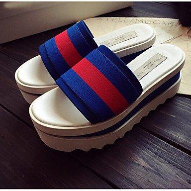 LFNLYX En abril de 2015 las nuevas estaciones europeas corteza gruesa muffin sandalias sandalias de cuero color hechizo y zapatillas palabra Blue