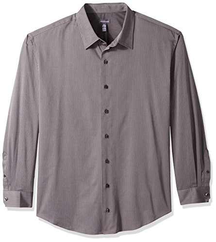 Sateen Stripe Shirt (Van Heusen Men's Big Long Sleeve Stripe Sateen Shirt, Gargoyle, X-Large Tall)