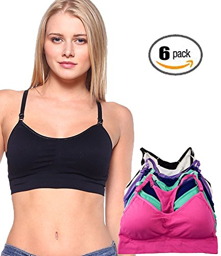 Barbra's 6 Pack Plus Size Wirefree Yoga Bras with Removable Pads (Plus, Color)