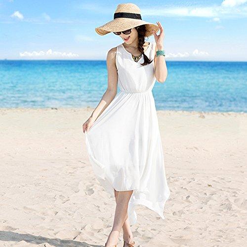 Jupe Robe Blanche Jupe Femme Plage D'été Sans Manches Irrégulière Plage Mi-longueur Balnéaire Blanc