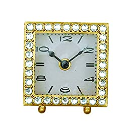 Creative Co-Op DA4388 Square Pewter Clock with Crystals and Gold Finish