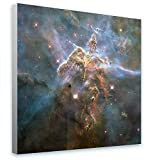 Alonline Art - Mystic Mountain Hubble NASA Star Space Galaxy Framed Stretched Canvas (100% Cotton) Gallery Wrapped - Ready to Hang | 28''x28'' - 71x71cm | for Living Room Giclee for Home Decor