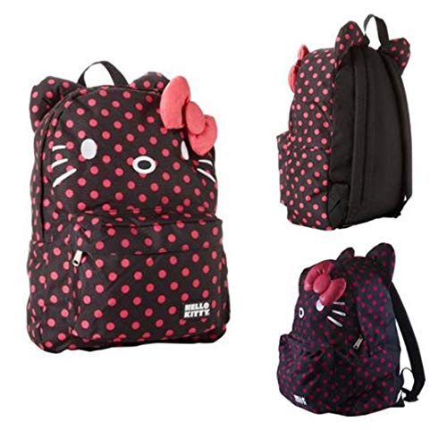 Hello Kitty Black and Pink Polka Dots Backpack with Ears and 3D Bow -