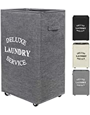 ZERO JET LAG 90L Large Laundry Hamper on Wheels Rolling Basket Dirty Clothes Hamper Organizer Tall with Handles Collapsible Storage Bins Bathroom Bedroom (Dark Grey)