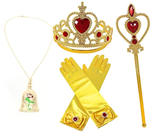 Princess Belle Yellow Dress up Party Accessories 4 Piece Gift Set Gloves, Tiara, Necklace & Wand (Red/Gold)