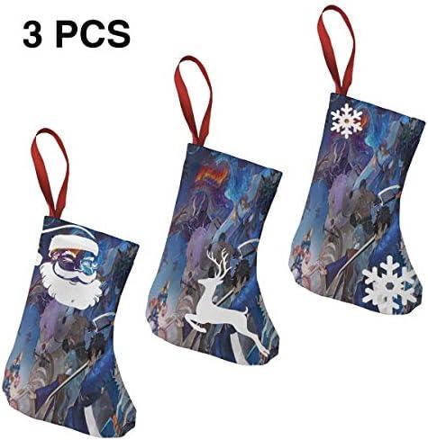 クリスマスの日の靴下 (ソックス3個)クリスマスデコレーションソックス 古代の神話の戦争 クリスマス、ハロウィン 家庭用、ショッピングモール用、お祝いの雰囲気を加える 人気を高める、販売、プロモーション、年次式