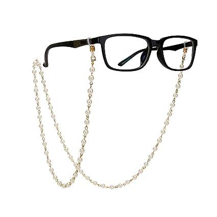 Amazon.com: Cadena de perlas de imitación para gafas, correa ...