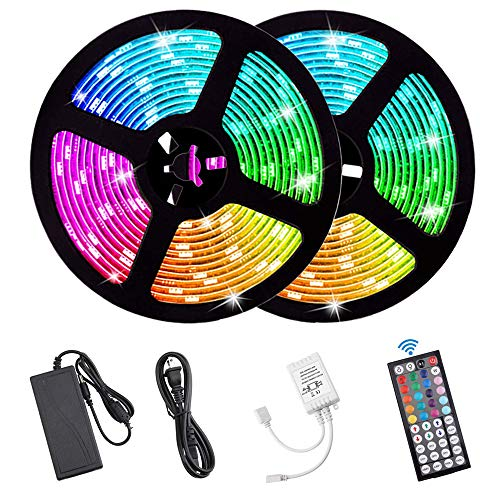 Flykul LED Strip Lights, DC12V 33 Feet/10M SMD5050 300Leds Waterproof LED Light Strip Kit with Flexible RF Remote Controller Stronger 3M Tape, 5A Power Supply for Home Kitchen Bedroom Party (RGB)