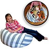 """Creative QT Extra Large Stuff 'n Sit - Stuffed Animal Storage Bean Bag Chair Kids - Pouf Ottoman Toy Storage - Available in 2 Sizes 5 Patterns (38"""", Grey/White Stripe)"""