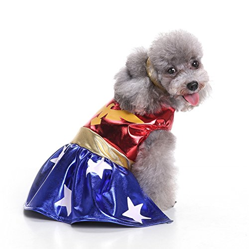 Pictures Of Superwoman Costumes (KeeKit Dog Puppy Pet Cat DC Hero Super Women Eagle Villains Collection Halloween Festival Skirts Clothes Costume (Small))