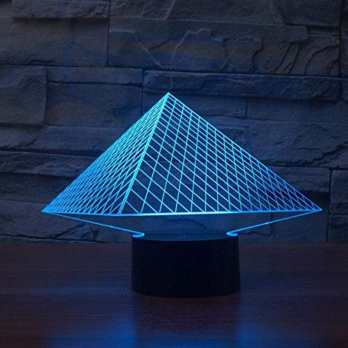 YKL WORLD 3D Illusion Lamp Pyramid LED Night Light Touch Control 7 Colors Changing Table Lamp Bedroom Bedside Decor Lighting Christmas Birthdays Gifts for Boys Girls - Cable Fixture Pyramid