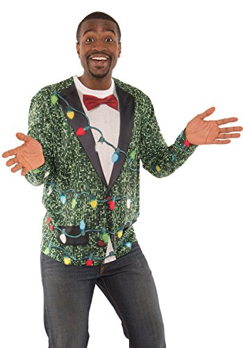 Faux Real Men's 3D Photo-Realistic Ugly Christmas Sweater Long Sleeve T-Shirt, Green Sequin Suit, XXL (Ugly Suit Xxl Christmas)