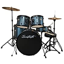Rise by Sawtooth ST-RISE-DS-BS Full Size Student Drum Set with Hardware & Beginner Cymbals, Storm Blue Sparkle