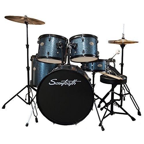 Blue Sparkle Drumsticks - Rise by Sawtooth Full Size Student Drum Set with Hardware and Cymbals, Storm Blue Sparkle